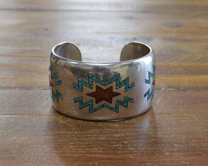 Vintage Southwestern Sterling Silver and Chip Inlay Cuff Bracelet