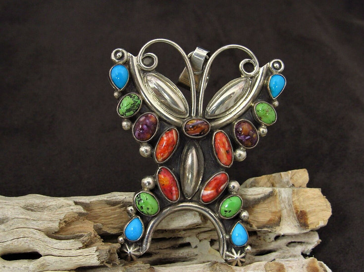 Multi-Color Butterfly Sterling Silver Pendant