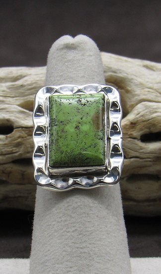 Navajo Made Gaspeite and Sterling Silver Ring Size 6 1/4