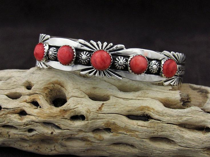 Spiny Oyster Sterling Silver Cuff Bracelet By P. Yazzie