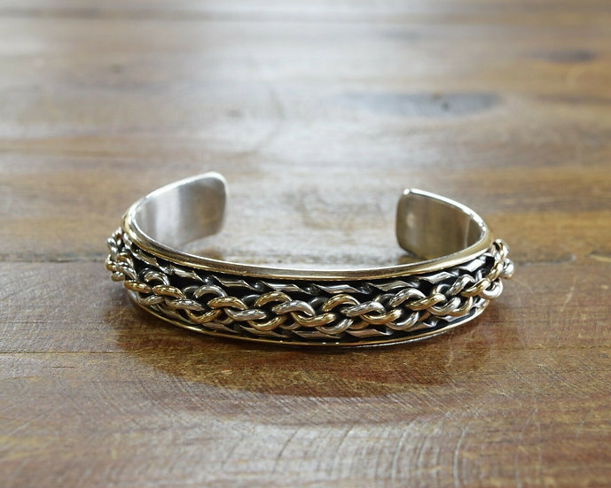Navajo Sterling Silver and Gold-Filled Cuff Bracelet by Leonard James