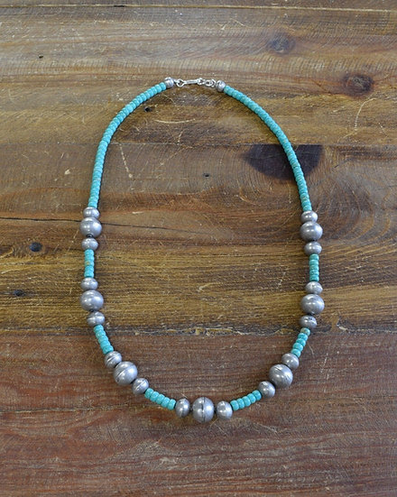 Navajo Sterling Silver and Turquoise Bead Necklace