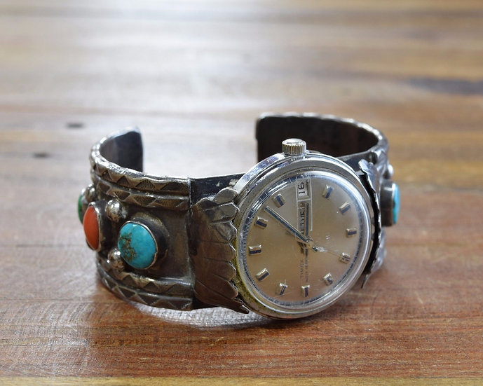 Sterling Silver, Turquoise and Coral Men's Cuff Watch Bracelet