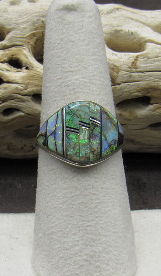 Stunning Opal and Jet Inlay Ring Size 7 1/2