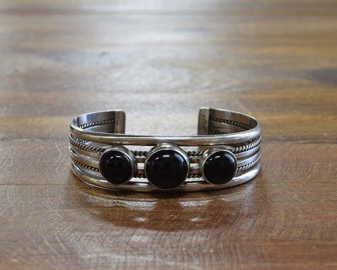 Southwestern Sterling Silver and Black Onyx Cuff Bracelet