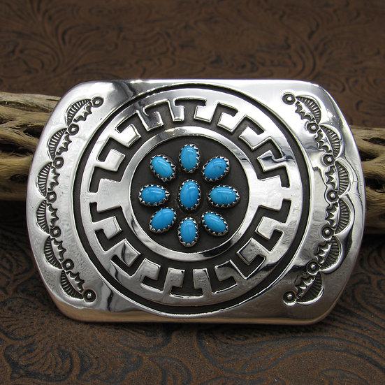 Sterling Silver Turquoise Belt Buckle by Rosco Scott