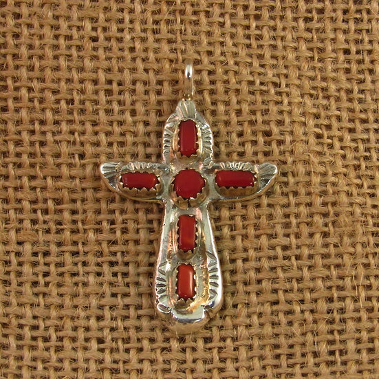 Zuni Coral Sterling Silver Cross Pendant