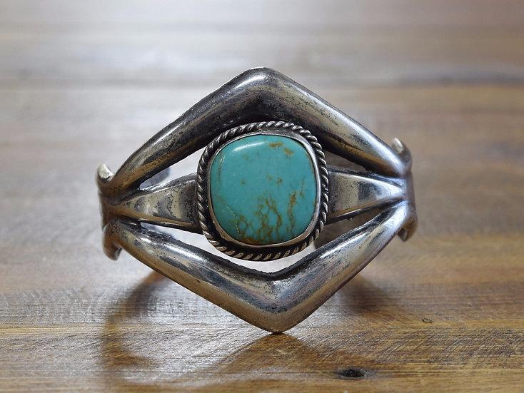Vintage Southwest Turquoise Sandcast Sterling Silver Cuff Bracelet