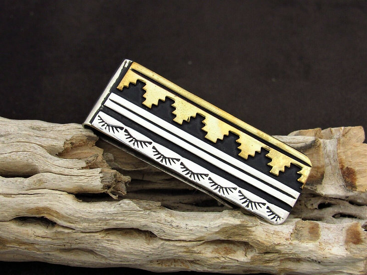 Navajo Two-Toned Sterling Silver and Brass Stamped Money Clip by Rosita Singer