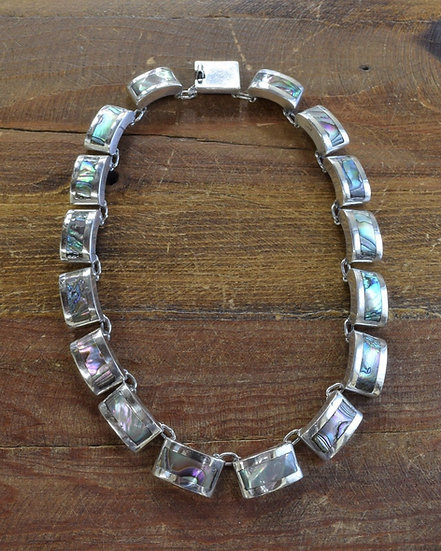 Vintage Taxco Sterling Silver and Abalone Choker Necklace