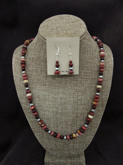 Southwestern Sterling Silver Beaded Necklace and Earrings Set