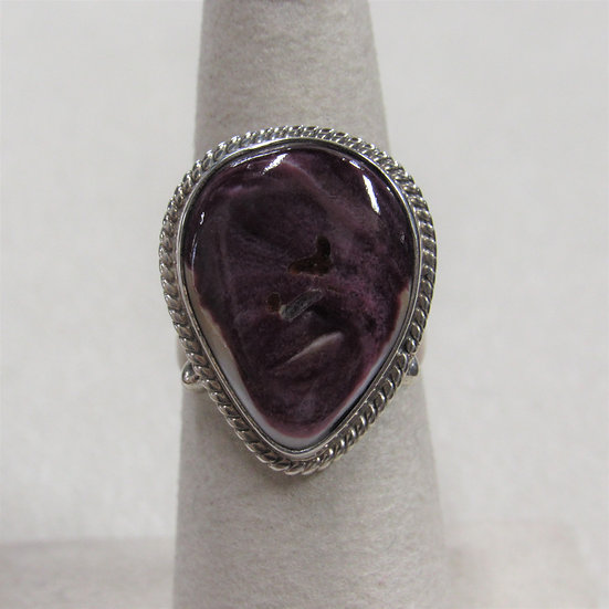 Sterling Silver and Purple Spiny Oyster Shell Ladies Ring Size 6
