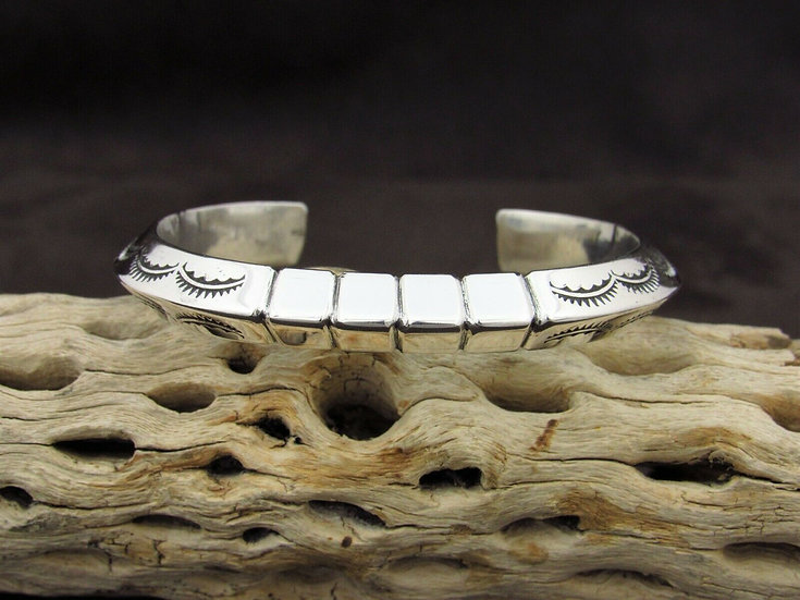 Triangular Stamped Sterling Silver Cuff Bracelet