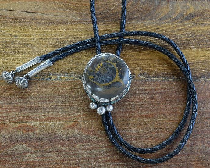 Vintage Ammonite Sterling Silver Bolo Tie