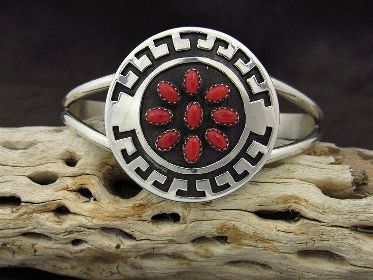Sterling Silver Cluster Coral Cuff Bracelet