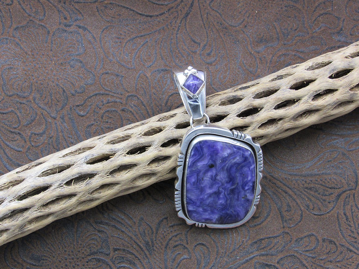 Sterling Silver Charoite Pendant signed P.A. Smith