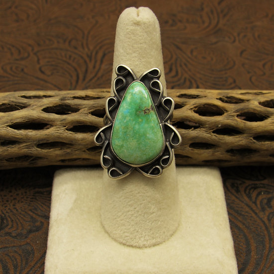 Turquoise Teardrop Sterling Silver Ring Made by B Lee Size 8