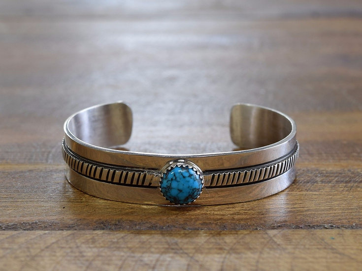 Gorgeous Navajo Turquoise and Sterling Silver Cuff by Tillie Jon