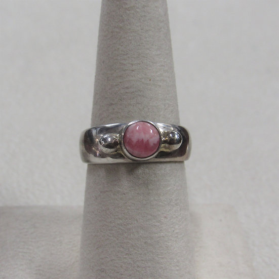 Southwest Sterling Silver and Rhodochrosite Band Ring Size 7.5