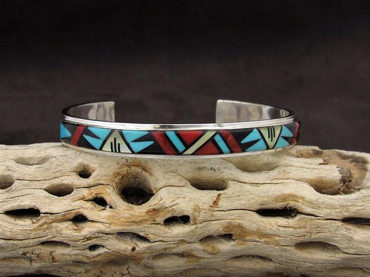 Sterling Silver Southwestern Inlay Cuff Bracelet