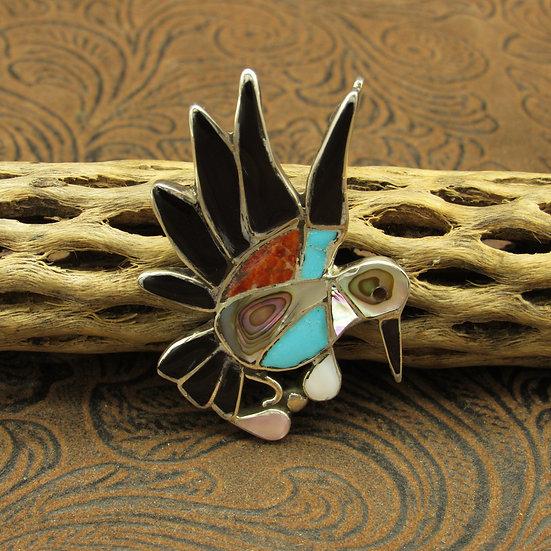 Zuni Hummingbird Inlay Pendant