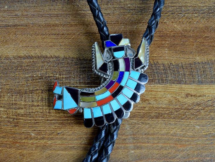 Vintage Zuni Multi-Stone Rainbow Yei Inlay Sterling Silver Bolo Tie