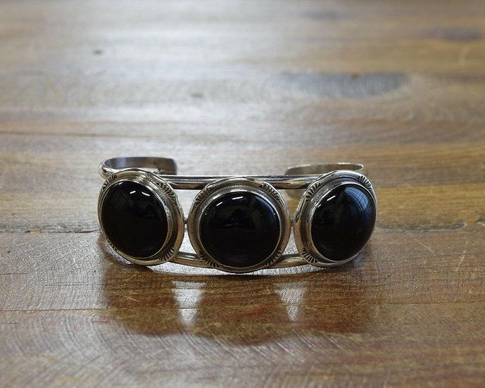Vintage Sterling Silver Multi Stone Onyx Cuff Bracelet