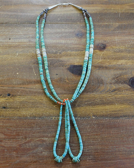 Vintage Navajo Turquoise Beaded Jacla Necklace