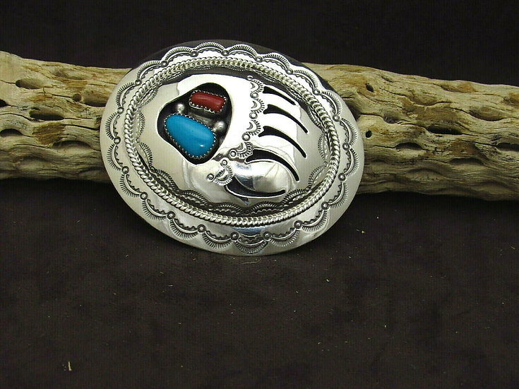 Navajo Turquoise and Coral Bear Paw Shadowbox Sterling Silver Belt Buckle