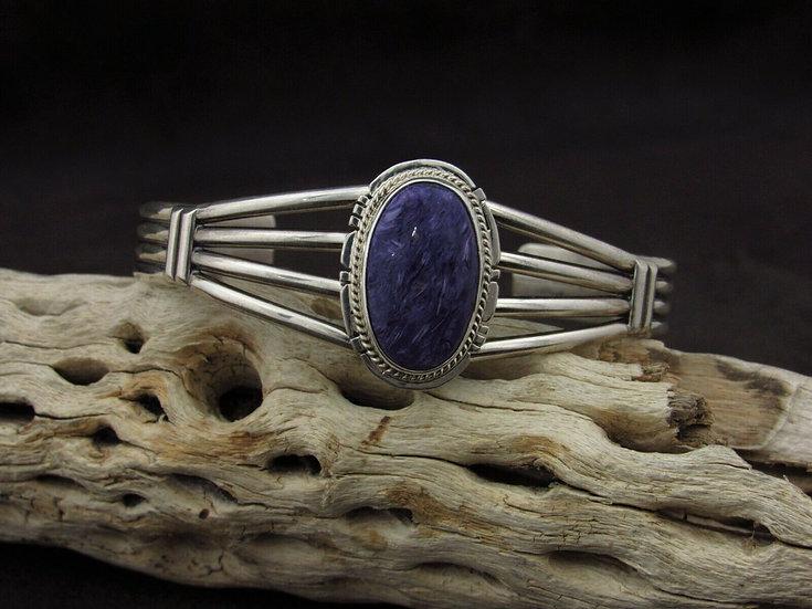 Navajo Charoite Sterling Silver Cuff Bracelet