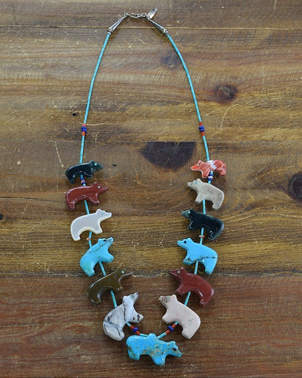 Vintage Zuni Multi-Color Bear Fetish Necklace