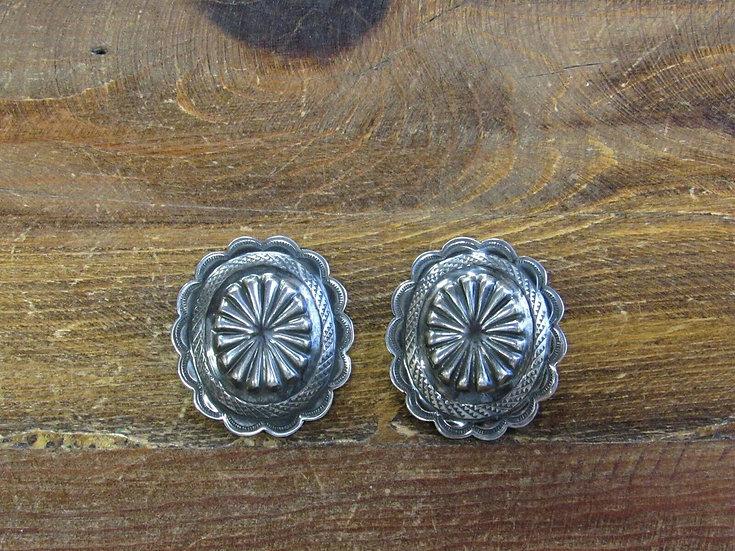 Vintage Sterling Silver Repoussé Concho Post Earrings