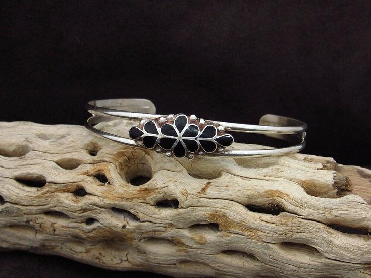 Sterling Silver Jet Inlay Cuff Bracelet