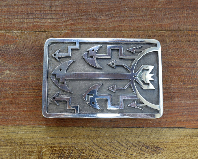 Sterling Silver Overlay Belt Buckle with Arrows