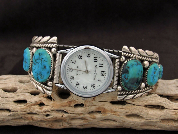 Sterling Silver Multi Stone Turquoise Watch Band
