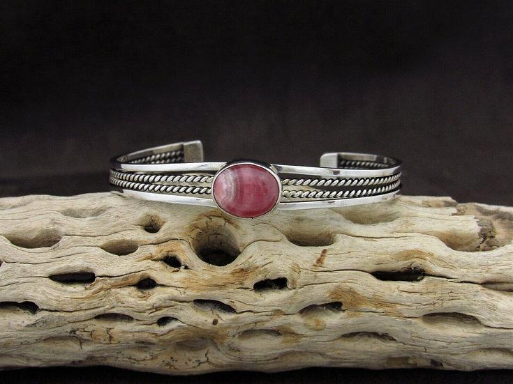 Lightweight Sterling Silver Rhodochrosite Cuff Bracelet