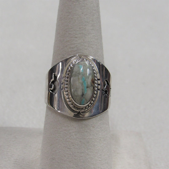 Southwest Sterling Silver and Boulder Turquoise Ring Size 8
