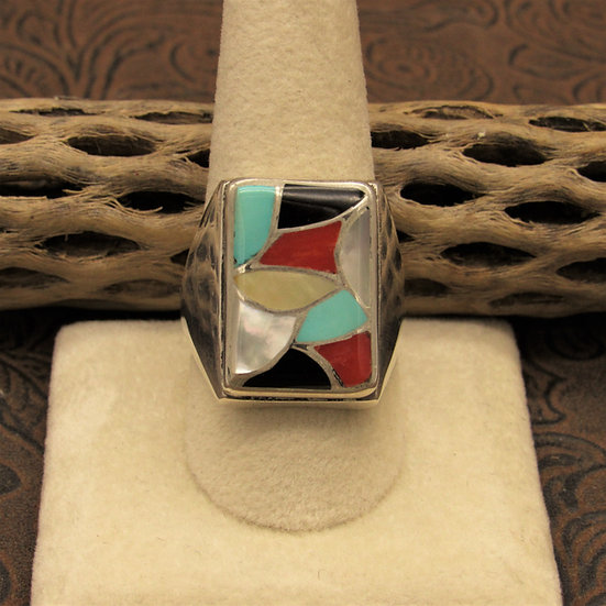 Multi-Stone Sterling Silver Inlay Statement Ring Size 10 3/4