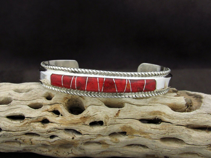 Apple Coral Sterling Silver Inlay Cuff Bracelet