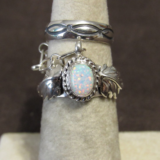 Navajo Thomas Yazzie Sterling Silver & Lab Opal Double Ring Size 6