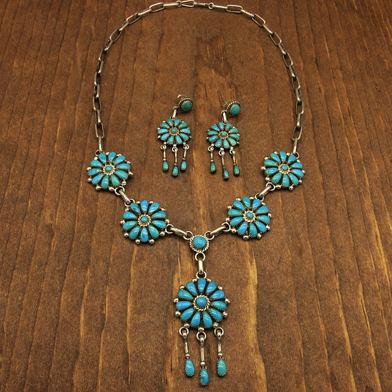 Leonard and Lula Weeboothee Turquoise and Sterling Silver Necklace Set