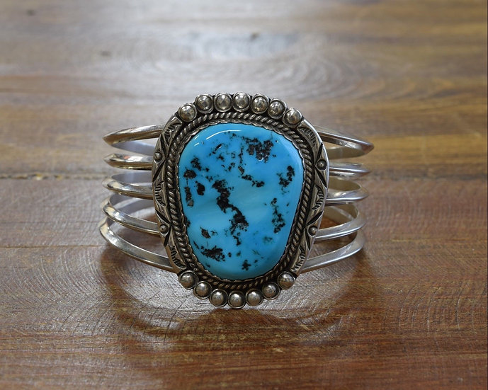 Navajo Sterling Silver and Turquoise Cuff Bracelet by V. & N. Edsitty
