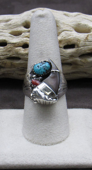 Navajo Made Sterling Silver Turquoise and Coral Ring Size 9