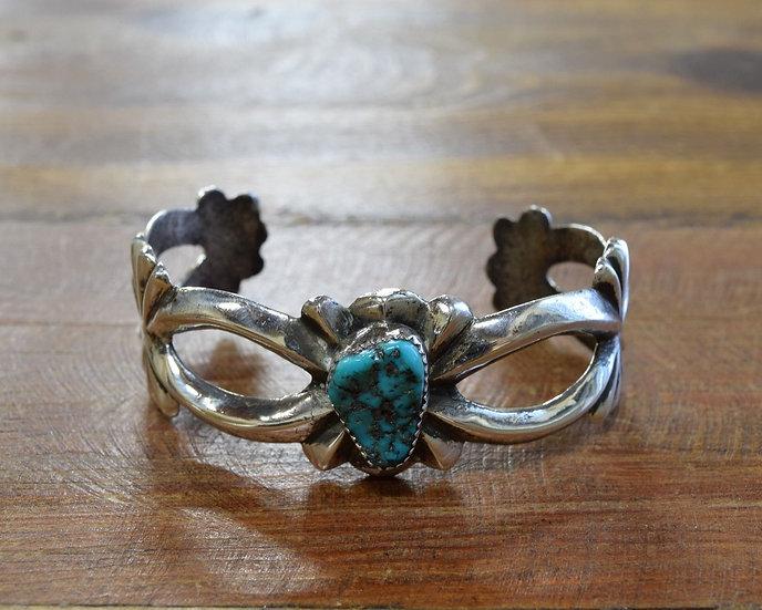 Vintage Sterling Silver Turquoise Sandcast Cuff Bracelet