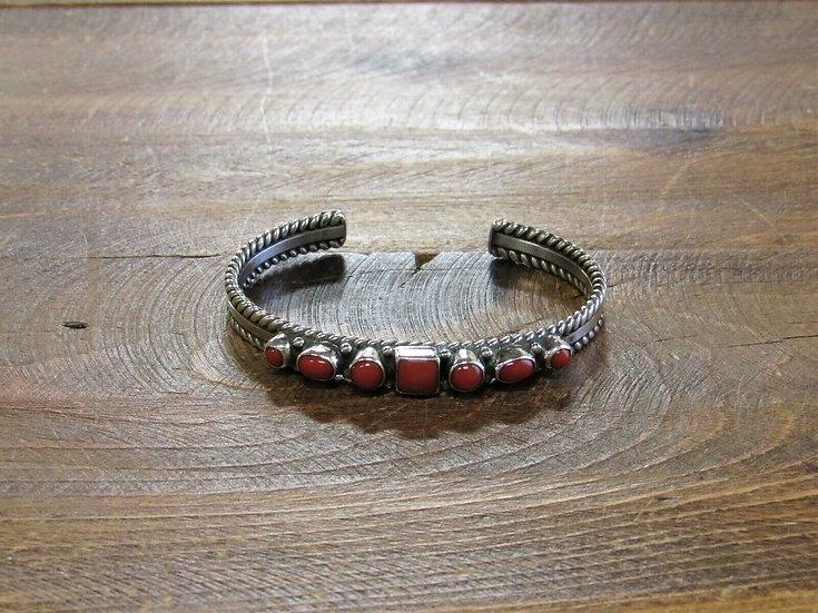 Vintage Coral Sterling Silver Cuff Bracelet by R.J. Apacheto