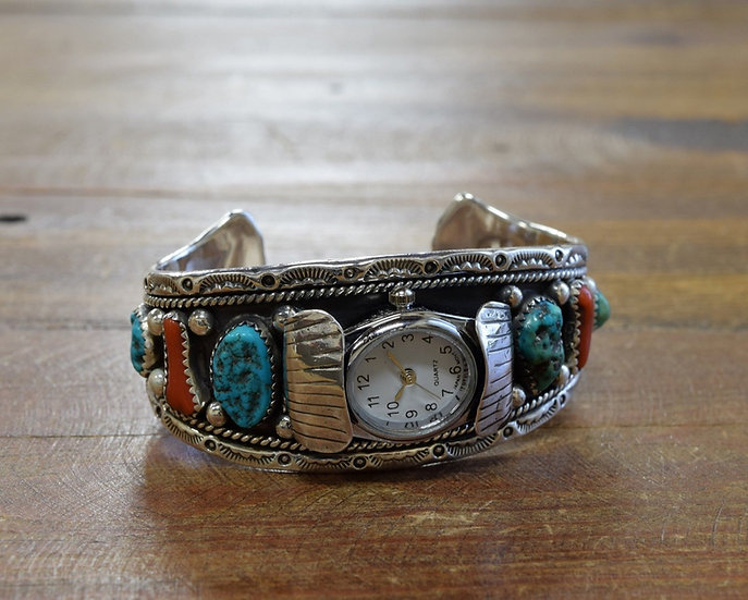 Vintage Sterling Silver Southwestern Turquoise and Coral Watch Cuff Bracelet