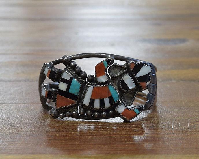 Vintage Zuni Sterling Silver Multi-Stone Inlay Rainbow Yei Cuff Bracelet