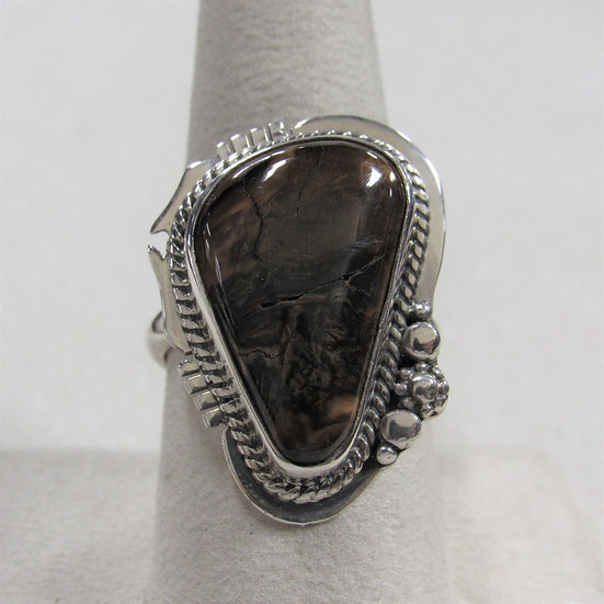 Sterling Silver and Pretty Mottled Brown Stone Ring Size 9
