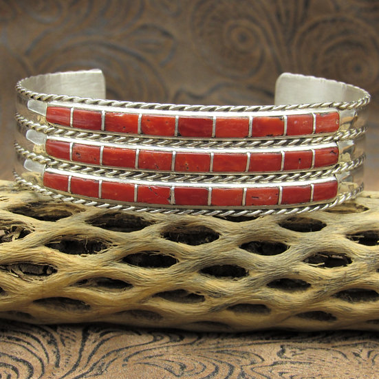 Contemporary Sterling Silver Coral Inlay Cuff Bracelet