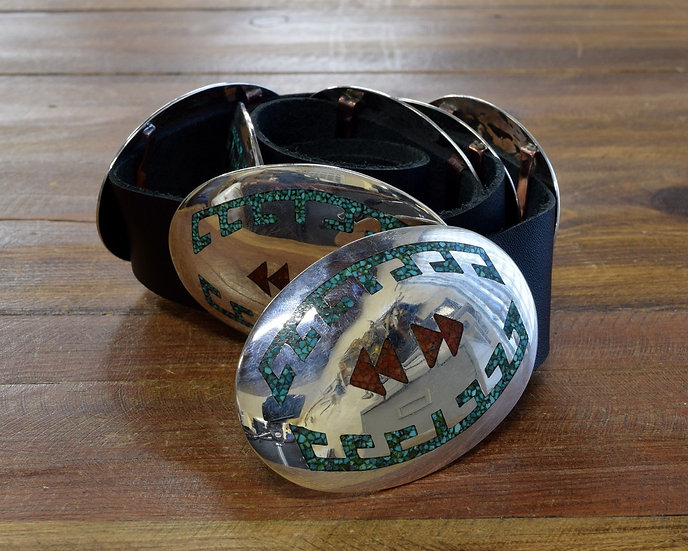 Vintage Navajo Sterling Silver Turquoise Coral Chip Inlay Concho Belt